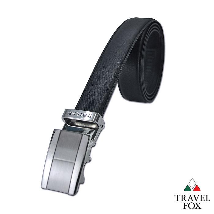 Travel Fox旅狐皮帶 - H字工型帶頭 細紋牛皮皮帶 - H黑