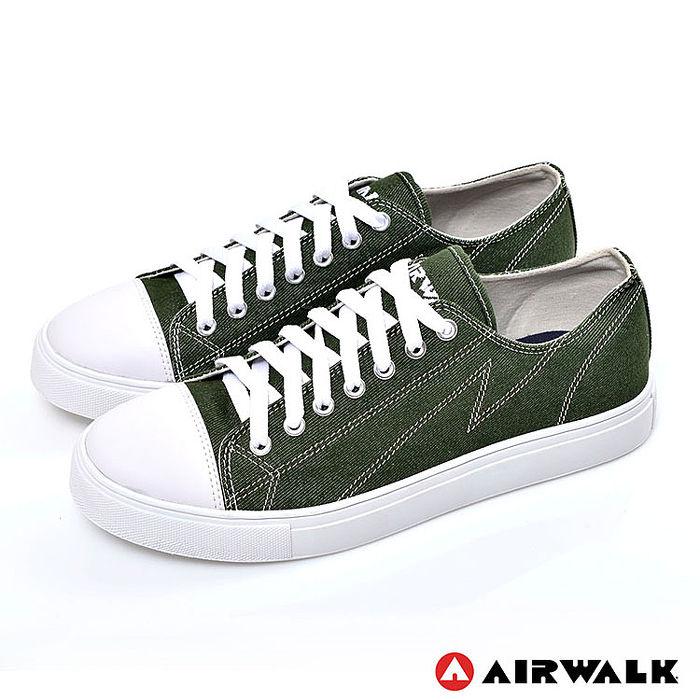 AIRWALK(男) - 復古圓頭低筒基本款帆布鞋 - 時髦綠9