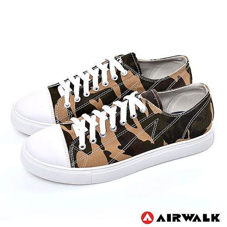 AIRWALK(男) - 復古圓頭低筒基本款帆布鞋 - 迷彩咖