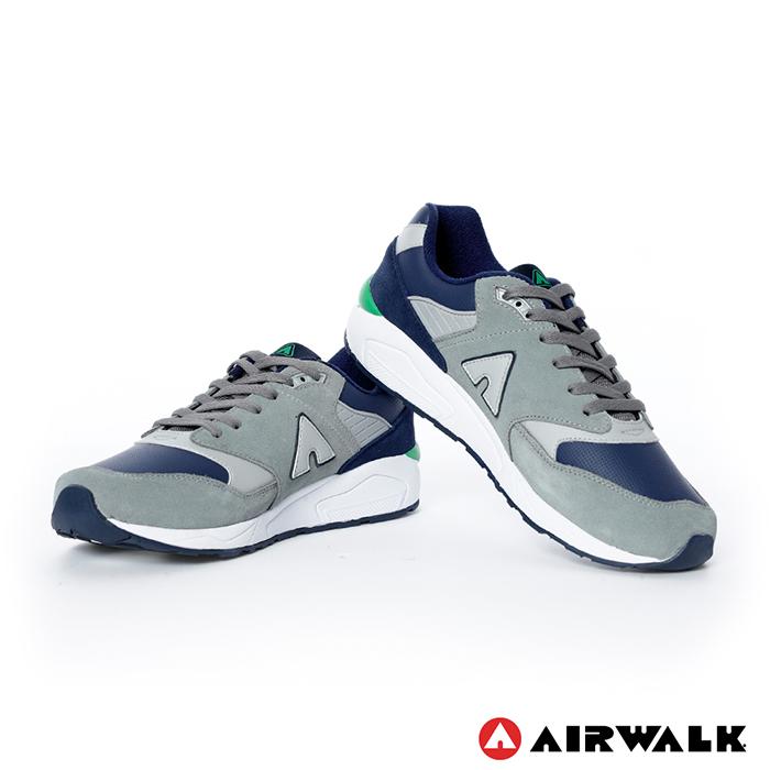 AIRWALK(男) - A字風潮 拼接麂皮復古運動鞋 - 淺灰