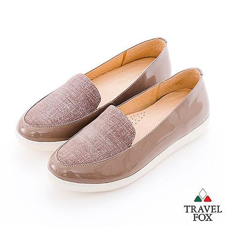 Travel Fox(女) 閃亮的時光 三角楦亮面牛皮直套休閒鞋 - 亮棕