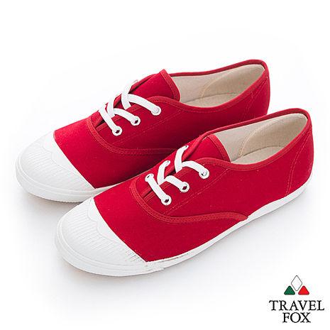 Travel Fox(女)Jasmine 白膠頭百搭休閒帆布鞋 - 紅-服飾‧鞋包‧內著‧手錶-myfone購物