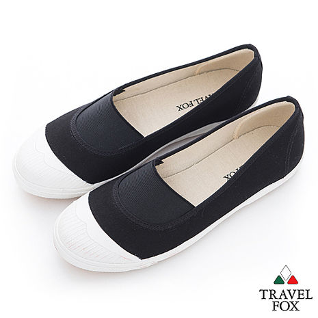 Travel Fox(女) Lilian 鬆緊彈力白膠頭懶人帆布鞋 - 黑-服飾‧鞋包‧內著‧手錶-myfone購物