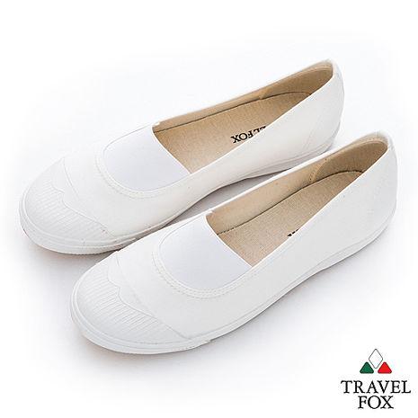 Travel Fox(女) Lilian 鬆緊彈力白膠頭懶人帆布鞋 - 白-服飾‧鞋包‧內著‧手錶-myfone購物