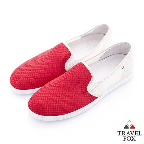 Travel Fox(男)輕快的 網紋透氣直套懶人鞋 - 紅白-服飾‧鞋包‧內著‧手錶-myfone購物