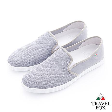 Travel Fox(男)輕快的 網紋透氣直套懶人鞋 - 輕灰-服飾‧鞋包‧內著‧手錶-myfone購物