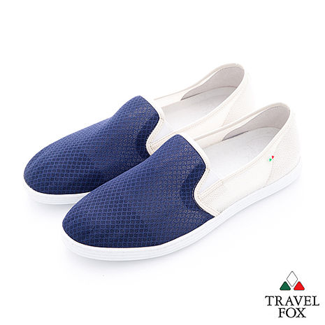 Travel Fox(男)輕快的 網紋透氣直套懶人鞋 - 藍白-服飾‧鞋包‧內著‧手錶-myfone購物