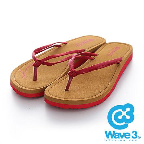 WAVE 3 (女) - 禪絲 涼感絲帶厚底橡膠人字夾腳拖鞋 - 紅-服飾‧鞋包‧內著‧手錶-myfone購物