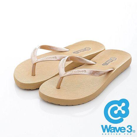 WAVE 3 (女) - 蜜糖 經典蕾絲珠光素面人字夾腳拖鞋 - 珠米S(22CM)