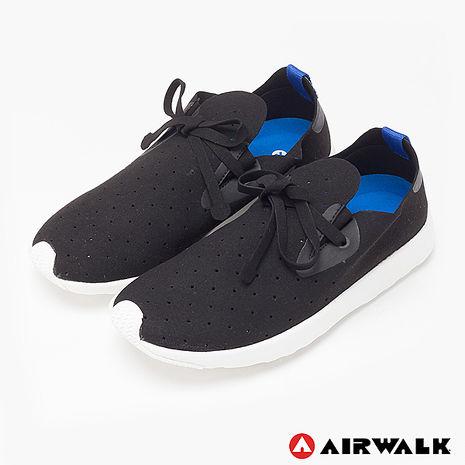AIRWALK(男) - 絕對輕量 純色洞洞柔軟EVA綁帶休閒鞋 - 黑10