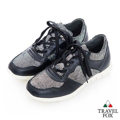Travel Fox(女) 完美比例 時尚網紋牛皮運動休閒鞋 - 銀黑36