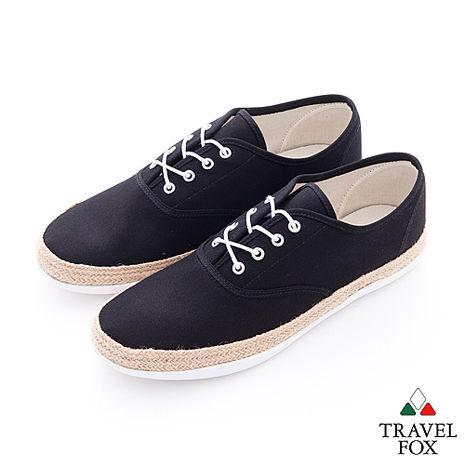 Travel Fox(男) 亞麻風情 滾麻邊帆布休閒鞋 - 黑