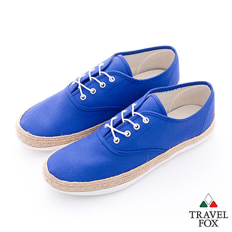 Travel Fox(男) 亞麻風情 滾麻邊帆布休閒鞋 - 藍