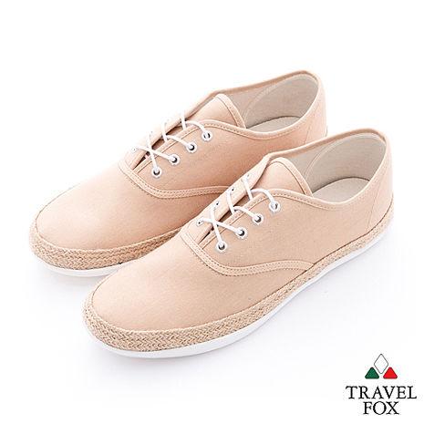Travel Fox(男) 亞麻風情 滾麻邊帆布休閒鞋 - 淺棕