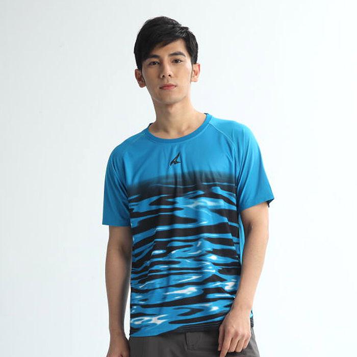 AIRWALK(男) - 城市系列吸濕排汗 水波紋印花T恤 - 寶藍-服飾‧鞋包‧內著‧手錶-myfone購物