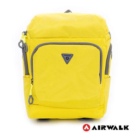 AIRWALK(KIDS) - 都市小遊俠 後開式多功能平板後背包 - 螢黃