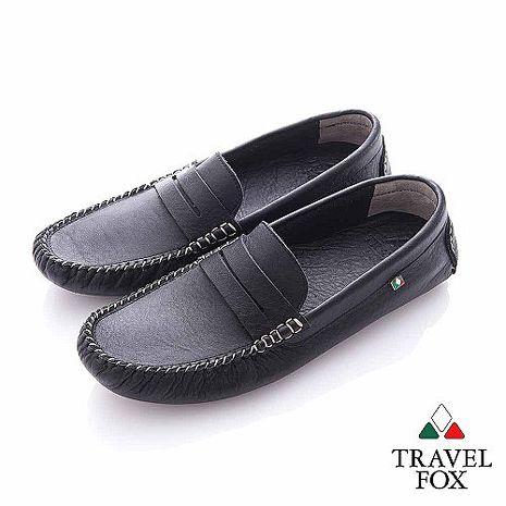 Travel Fox (男) - 斯文 牛皮輕便PENNY 司機鞋- 黑40