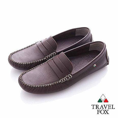Travel Fox (男) - 斯文 牛皮輕便PENNY 司機鞋- 深咖44