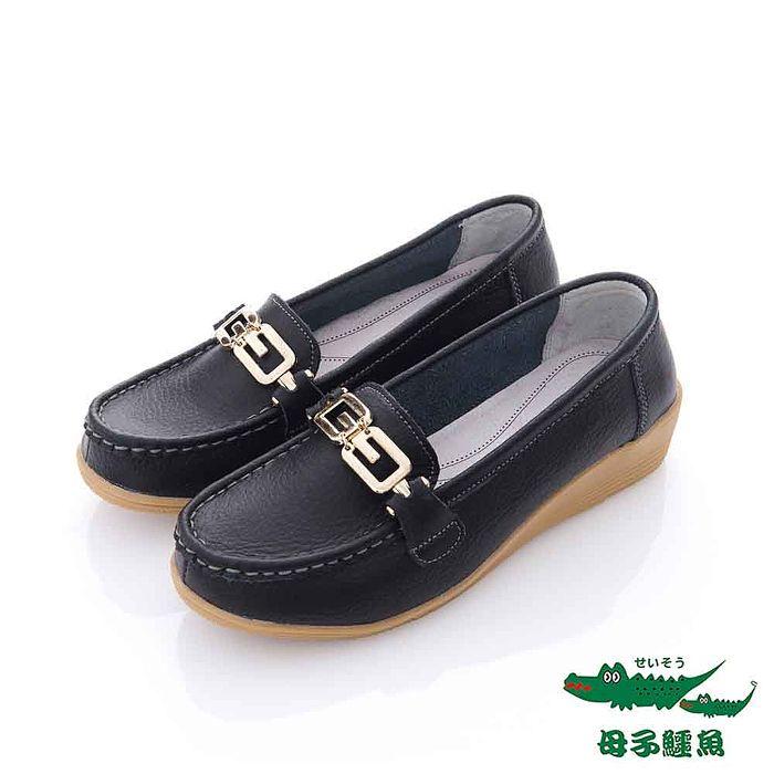 母子鱷魚(女) - 8字金扣超軟楔型膠底休閒帆船鞋 - 黑