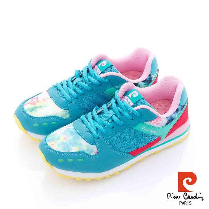 Pierre Cardin(女) - 花的節奏 繽紛撞色運動慢跑鞋 - 靜藍36