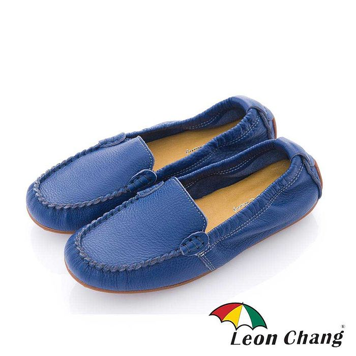 Leon Chang(女) - 小豆豆 全牛皮豆豆大底直套鬆緊休閒鞋 -深藍