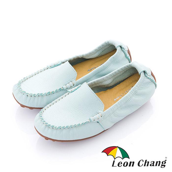 Leon Chang(女) - 小豆豆 全牛皮豆豆大底直套鬆緊休閒鞋 -水藍