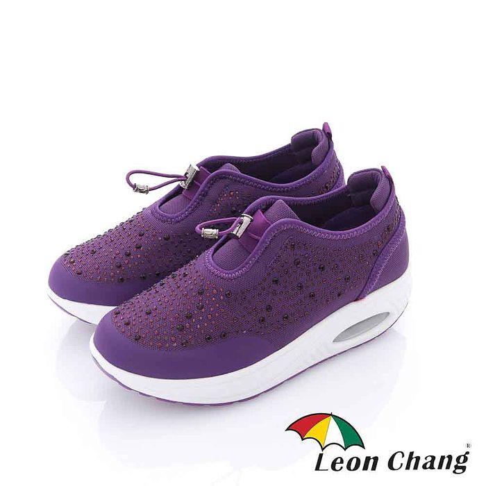 Leon Chang(女) - 晶鑽 厚底搖擺氣墊直套休閒運動鞋-亮紫