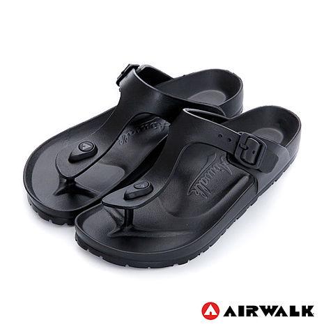 AIRWALK(女) -AB拖 EVA中性T字羅馬夾腳拖鞋-T黑色