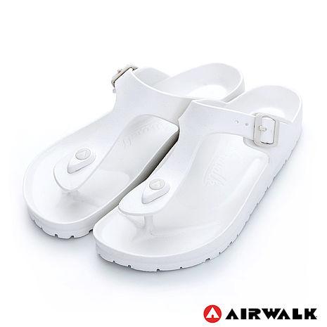 AIRWALK(女) -AB拖 EVA中性T字羅馬夾腳拖鞋-T白色