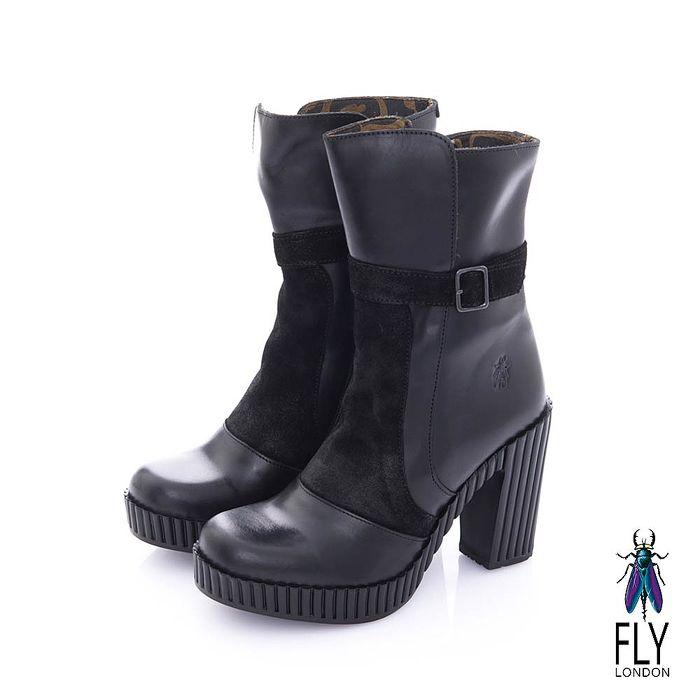 Fly London(女) 奧式優雅 雙料拼接牛皮高跟中筒靴-靚黑-服飾‧鞋包‧內著‧手錶-myfone購物