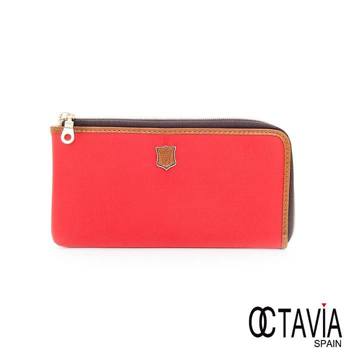 OCTAVIA 8 - schoolish 尼龍輕量護照式L型拉鍊長夾 - 好運桔紅-服飾‧鞋包‧內著‧手錶-myfone購物