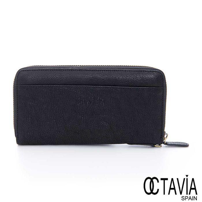 OCTAVIA 8 真皮-ensoen 真皮全拉式長夾-黑
