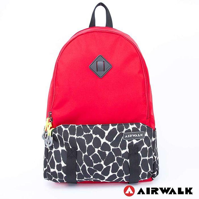 AIRWALK - 石頭紋 蛋型小豬鼻雙層後背包 - 中紅