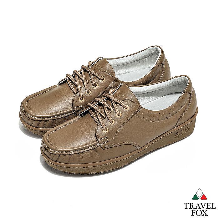 Travel Fox(女) - 午後散步 超軟牛皮舒適熟齡綁帶旅狐休閒鞋 - 3點棕35