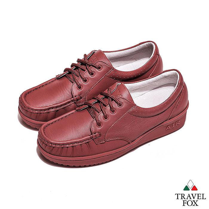 Travel Fox(女) - 午後散步 超軟牛皮舒適熟齡綁帶旅狐休閒鞋 - 亮點紅35