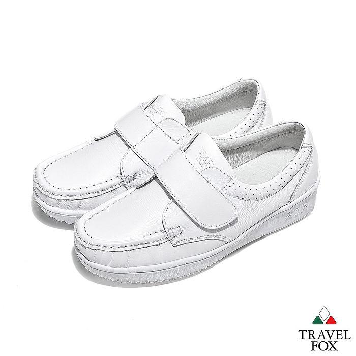 Travel Fox(女) - 午後散步 超軟牛皮舒適熟齡粘扣旅狐休閒鞋 - 鵝卵白