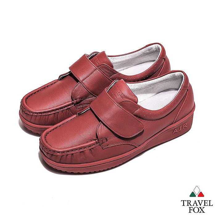 Travel Fox(女) - 午後散步 超軟牛皮舒適熟齡粘扣旅狐休閒鞋 - 秋楓紅39
