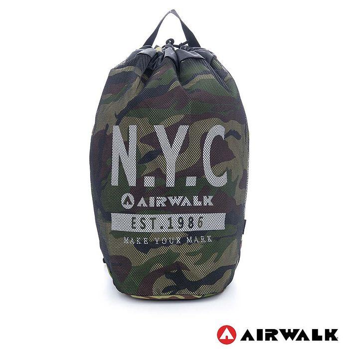AIRWALK - N.Y.C. 網布尼龍大束口後背包 - 綠迷彩