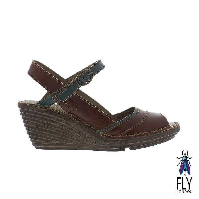 Fly London(女) Gami 魚口描邊真皮楔型高跟涼鞋 - 綠邊咖39
