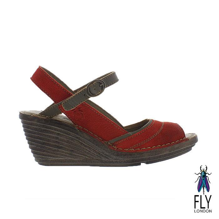 Fly London(女) Gami 魚口描邊真皮楔型高跟涼鞋 - 咖邊紅38