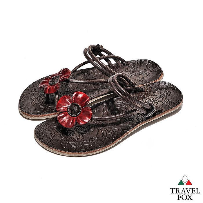 Travel Fox(女) - 俏皮花朵 牛皮三角式裸背旅狐夾腳拖鞋 - 小花紅39