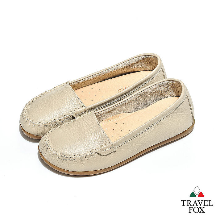 Travel Fox(女) - 京都味 超軟牛皮淺口直套旅狐休閒鞋 - 過雲米