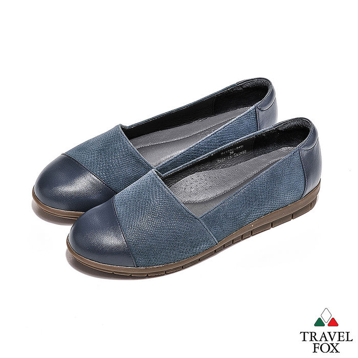 Travel Fox(女) - 極簡優雅 雙料融合羊皮直套旅狐休閒鞋 - 石藍37