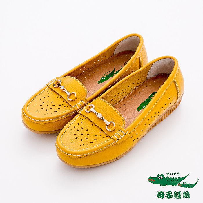母子鱷魚(女) - 花影 牛皮雕花洞洞莫卡辛休閒鞋 - 雛菊黃24