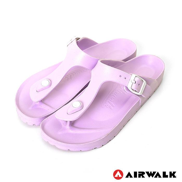 AIRWALK(女) -AB拖 EVA中性T字羅馬夾腳拖鞋-藍鈴紫