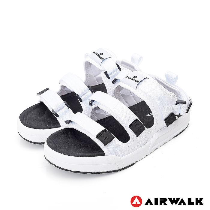 AIRWALK-魔鬼氈增高二穿式涼鞋-白色