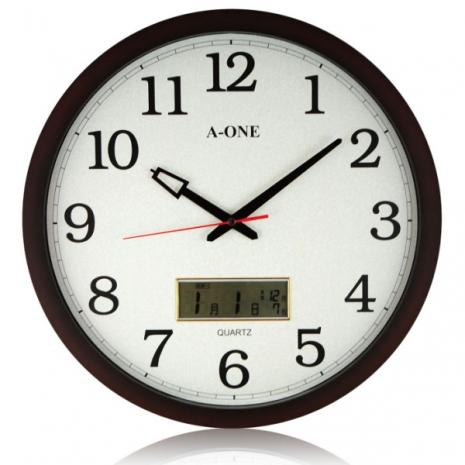 【A-ONE】大尺寸 核木紋LCD雙顯示掛鐘 (TG-0228)-居家日用.傢俱寢具-myfone購物
