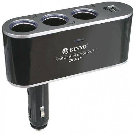【KINYO】3孔點煙器擴充座+USB充電槽(CRU-17)