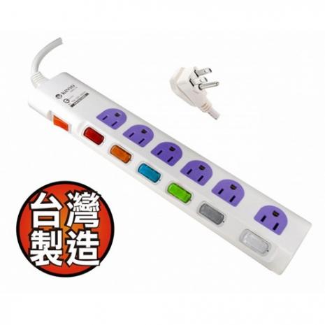 【KINYO】開關斜面式七開六插安全延長線(1.8M)(GK67-06)