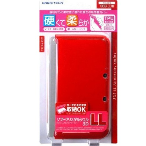 N3DS LL XL專用 日本 GAMETECH 耐衝擊 TPU 保護殼 果凍套 透明紅